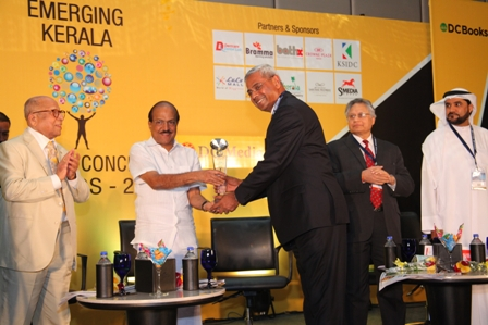 Award for Most Socially Committed Organization - Shri Abraham Chacko, Executive Director receiving Award for the 'Most Socially Committed Organization' from Shri. P K Kunhalikutty, Minister for Industries, Kerala at a function organized by Emerging Kerala Business Conclave & Awards 2013 By DC Media & DC Books, in presence of Dr. Krishnan Nair (Leela Group), Mr. Shiv Khera( Author of the Bestseller 'You Can Win') and Dr.Rashid Al Leem (Director General , HFZA Sharjah).