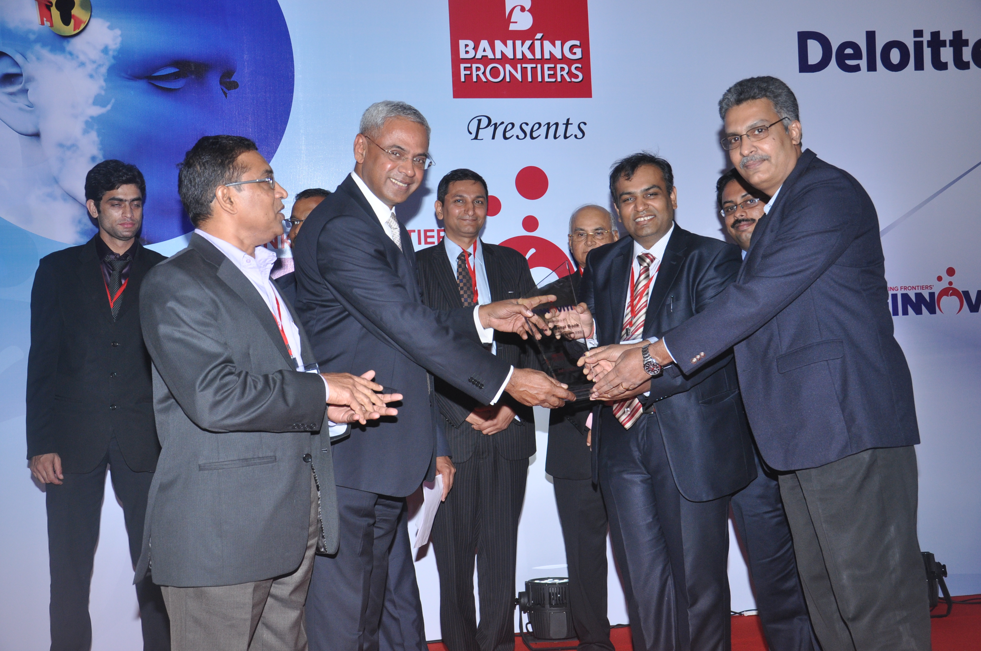 Finnoviti Award - Federal Bank won the Banking Frontier's Finnoviti 2013 Award for its innovation Virtual Accounting System (VAS). In photograph: Shri Abraham Chacko, Executive Director and Shri .Sunny K P, DGM and Head-IT and Operations receiving the award at a function held at Mumbai. VAS is an e–collection product developed in-house by Federal Bank IT team. The application is designed to streamline online remittance of funds by the clients of our customers. The facility is available for multiple payment channels like RTGS, NEFT, Net Banking, Cheques and for cash remittances. Finnoviti is an annual innovation congress recognizing excellence in innovations in the BFSI sector. Banks are recognized on their efforts at improving customer convenience, accelerating bank's productivity, mitigating risks and improving customer satisfaction by leveraging innovations.