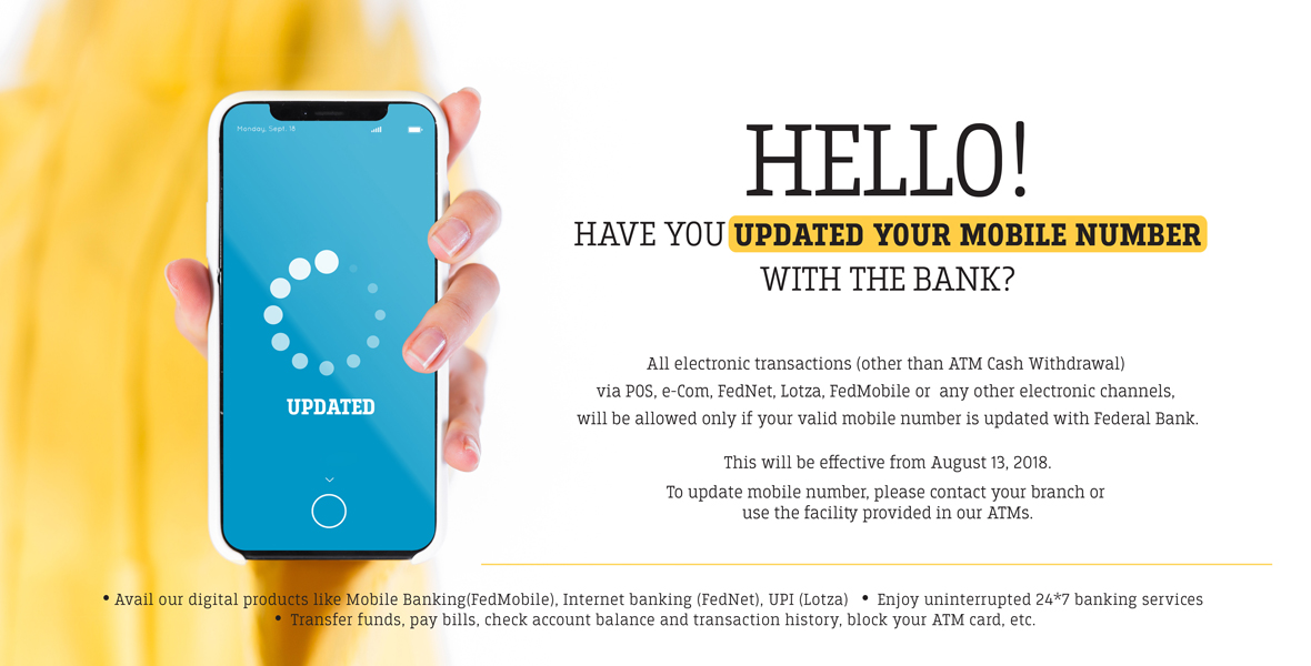 Update your Mobile Number in Bank Accounts